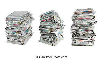 newspaper over white background
