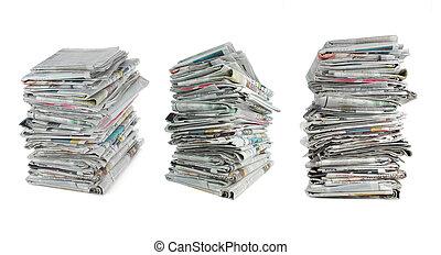 newspaper over white background