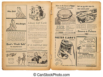 Newspaper page english text vintage advertising pictures - ...