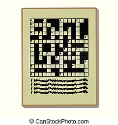 Newspaper page with a crossword puzzle isolated on a white background. Vector cartoon close-up illustration.