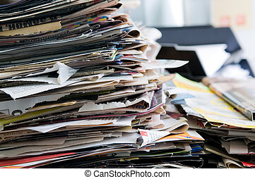 Newspaper - Pile of old newspapers ready for recycling