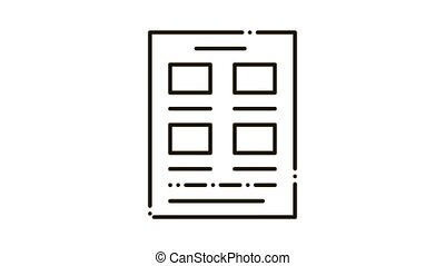 Newspaper Poster Icon Animation. black Newspaper Poster animated icon on white background