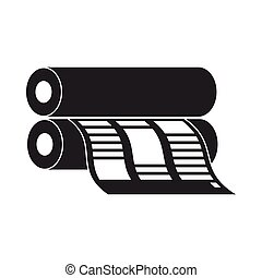 Newspaper printing machine in black style isolated on white background. Typography symbol vector illustration.