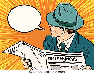 Newspaper reader reaction pop art pop art retro vector. News...
