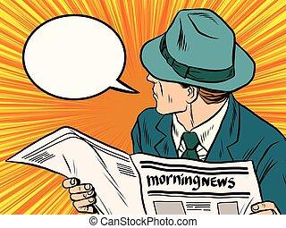 Newspaper reader reaction pop art pop art retro vector. News media press