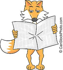 newspaper reading cartoon fox