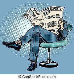 Newspaper reading man