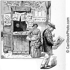 Newspaper seller in a suburb of Paris, vintage engraving.