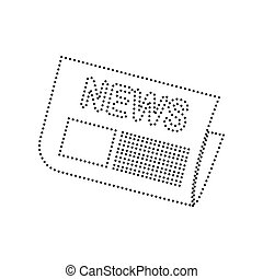 Newspaper sign. Vector. Black dotted icon on white background. Isolated.