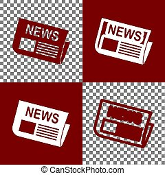 Newspaper sign. Vector. Bordo and white icons and line icons on chess board with transparent background.