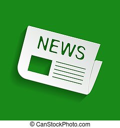 Newspaper sign. Vector. Paper whitish icon with soft shadow on green background.
