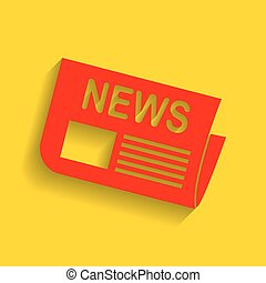Newspaper sign. Vector. Red icon with soft shadow on golden background.