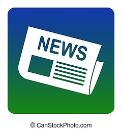 Newspaper sign. Vector. White icon at green-blue gradient square with rounded corners on white background. Isolated.