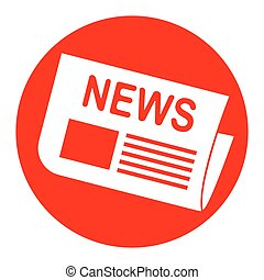 Newspaper sign. Vector. White icon in red circle on white background. Isolated.