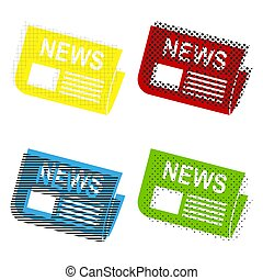 Newspaper sign. Vector. Yellow, red, blue, green icons with thei