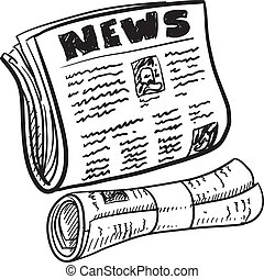 Doodle style newspaper illustration in vector format. Includes folded and rolled paper with headline.