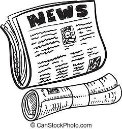 Newspaper sketch - Doodle style newspaper illustration in...