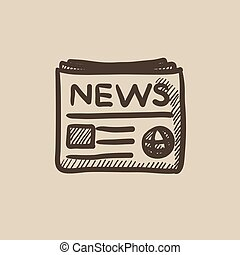 Newspaper sketch icon.