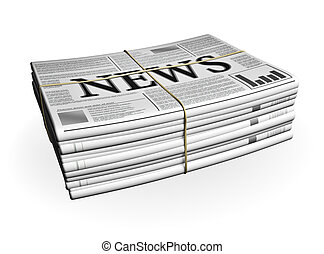 Newspaper Stack isolated on white