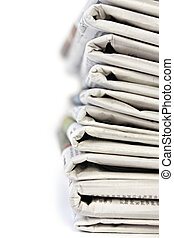 Newspaper Stack - Stack of newspapers, with shallow depth of...