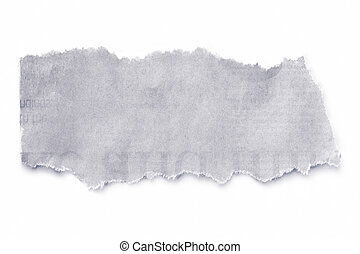 Torn newspaper, isolated on white with natural soft shadow. Print slightly visible.