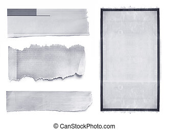 Collection of newspaper banners and tears, isolated on white.