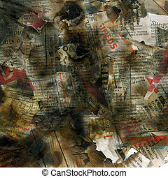 Newspaper texture - Newspaper burning background print ...