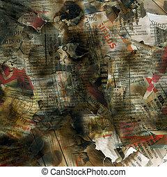 Newspaper texture - Newspaper burning background print...