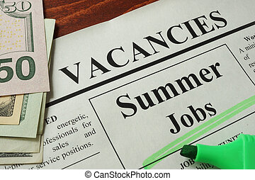 ads summer jobs vacancy - Newspaper with ads summer jobs...