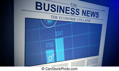 Newspaper with business news. Shallow Depth of field.