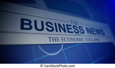Newspaper with business news titles and animation stock market charts.