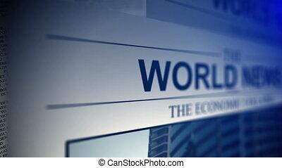 Newspaper with world news titles.