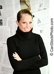 newspaper woman - a beauty portrait of young businesswoman...