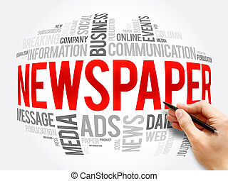 Newspaper word cloud collage, business concept