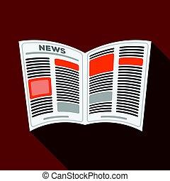 newspaper.old, idade, único, ícone, em, apartamento, estilo, vetorial, símbolo, ilustração acionária, web.