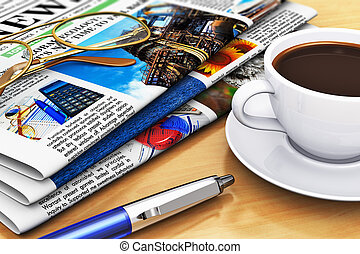 Newspapers and coffee on office table - Corporate office...