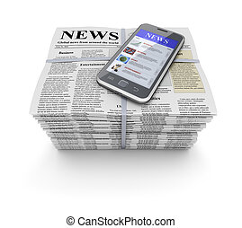 Newspapers and mobile - Newspapers with lorem ipsum text and...