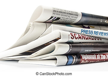 Newspapers with headlines on white background