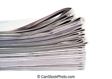 Newspapers on a white background