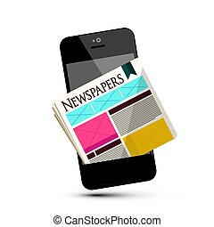 Newspapers on Mobile Phone. Vector Cellphone News Symbol.