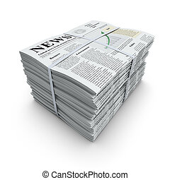 Newspapers stack - 3D concept with pile of newspapers with...