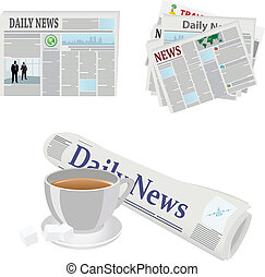 Various newspaper icons. Vector illustrations