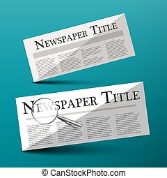 Newspapers Vector Illustration with Newspaper Title Headline and Magnifying Glass