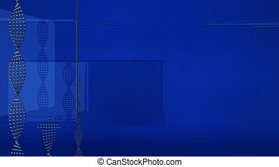 Blue animated background with arrows and transparent shapes - seamless loop