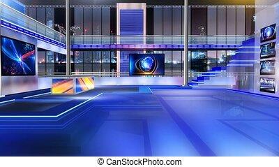 Newsroom_Vset5 - Virtual set studio for chroma footage...