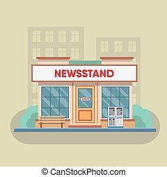 Newsstand selling newspapers and magazines. - Newsstand...