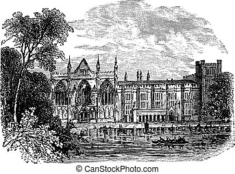 Newstead Abbey in Nottinghamshire, England, UK, vintage engraved illustration