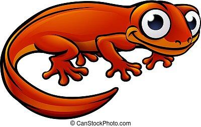 Newt or Salamander Cartoon Character - An illustration of a ...