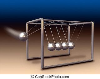 Newton cradle - Newton\'s cradle experiment. Digital...