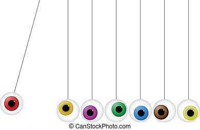 Newton Cradle - Illustration Of Newton Cradle With Eyeballs....